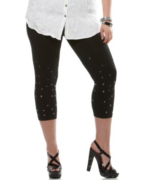 INC International Concepts Plus Size Leggings, Studded Ombre