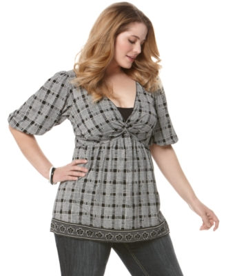 Studio M Plus Size Top, Elbow Sleeve Plaid