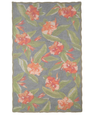 Tommy Bahama Area Rug, Indoor/Outdoor Hibiscus Bliss Torquoise Blue 2'x8'