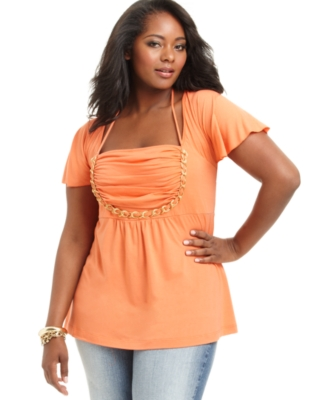 Baby Phat Plus Size Top, Angel Sleve Ruched Chain Trim Tunic