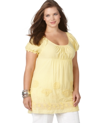 NY Collection Plus Size Top, Embroidered Peasant