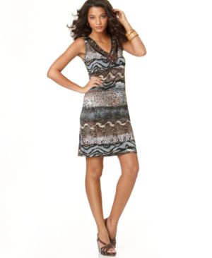 Elementz Dress, B-Slim Mixed Print V-Neck