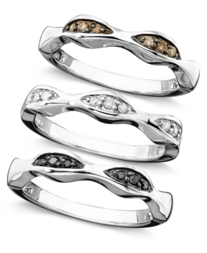 Macy's - Sterling Silver Rings Set, White, Champagne and Black Diamond Set of 3 Stackable Rings (1/4 ct. t.w.)