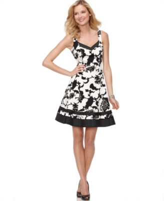 Nine West Dress, Sleeveless Abstract Floral A-Line