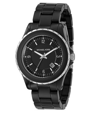 MICHAEL Michael Kors Watch, Women's Black Plastic Bracelet MK5248 - Michael Kors