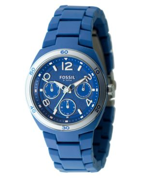 Fossil Watch, Women's Blue Soft Touch Plastic Bracelet ES2516
