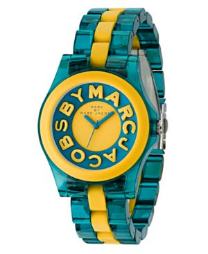 Marc by Marc Jacobs Watch, Women's Rivera Turquoise and Yellow Plastic Bracelet MBM4524