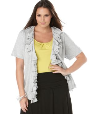INC International Concepts Plus Size Cardigan, Short Sleeve Ruffled Open Front