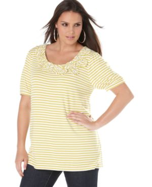INC International Concepts Plus Size Tunic, Short Sleeve Striped with Rosette Neckline