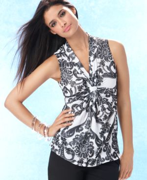 INC International Concepts Top, Printed Sleeveless Tab Front