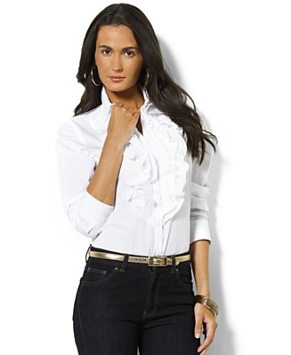 Lauren by Ralph Lauren Shirt, Mandell Ruffled Broadcloth - Tops - Women's  - Macy's