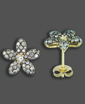 14k Gold Earrings, Diamond Flower (1 ct. t.w.)