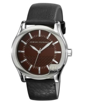 AX Armani Exchange Watch, Men's Black Leather Strap AX2048