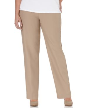 Alfred Dunner Plus Size Pull-On Straight-Leg Pants, Tan