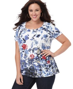 Charter Club Plus Size Top, Floral Print Beaded Knit Peasant