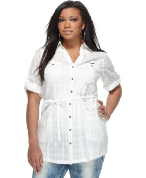 Apple Bottoms Plus Size Tunic, Komal Roll Sleeve Belted