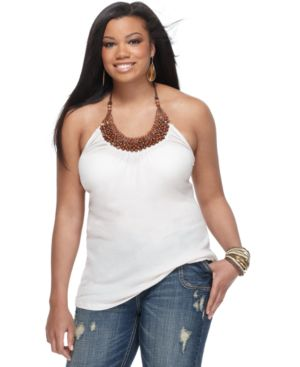 L8ter Plus Size Top, Wood Bead Halter