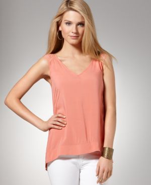 BCBGeneration Top, Sleeveless V Neck Strap Tank