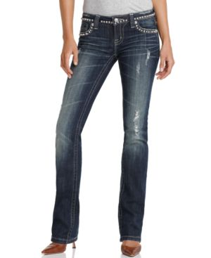 Miss Me Jeans, Straight Jean with Pyramid Stud Back Detail - Jeans