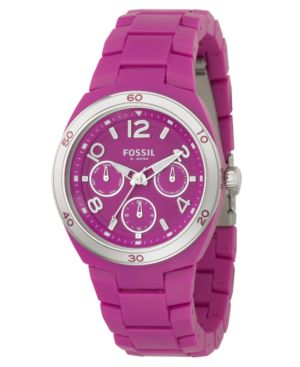 Fossil Watch, Women's Fuschia Soft Touch Plastic Bracelet ES2579