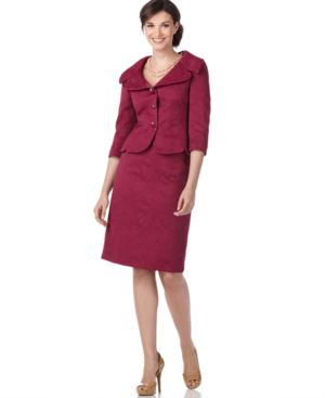 Tahari Suit, Three Quarter Sleeve Jacquard Jacket & Skirt
