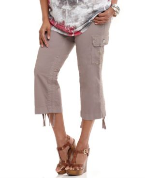INC International Concepts Plus Size Pants, Embroidered Cargo Capri