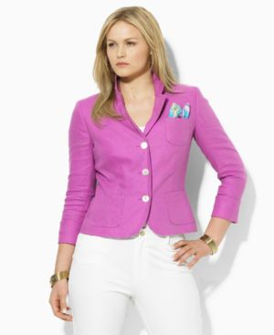 Lauen by Ralph Lauren Plus Size Jacket, Meghan Long Sleeve Three Button - Outerwear