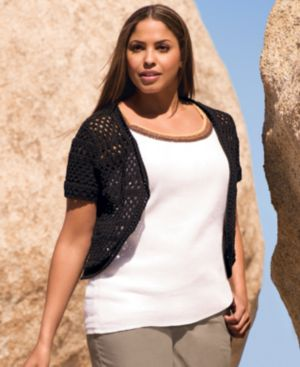 Style&co. Plus Size Sweater, Short Sleeve Crochet Shrug