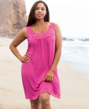 INC International Concepts Plus Size Dress, Sleeveless Rosette Trim Cover Up - Clothes