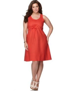 J Jones New York Plus Size Dress, Linen Sleeveless