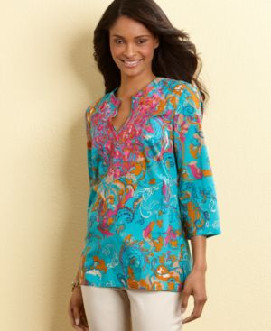 Charter Club Tunic, Three Quarter Sleeve Printed with Embroidery
