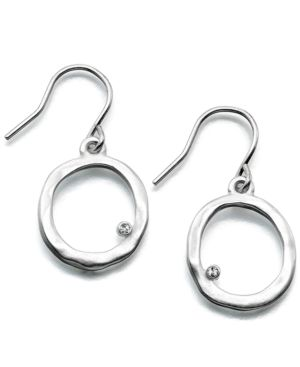 Kenneth Cole New York Earrings, Silvertone Circle