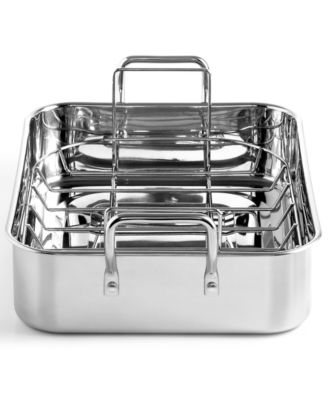 "Martha Stewart Collection Stainless Steel 15"" Roaster with Roasting Rack"