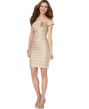 London Times Petite Dress, Rosette Cocktail Dress