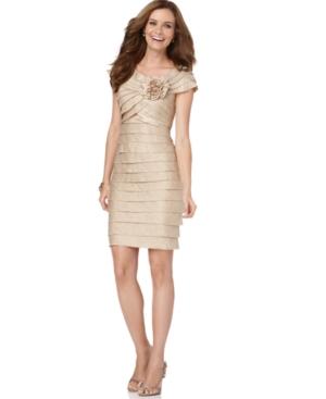 London Times Petite Dress, Rosette Cocktail Dress