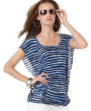 MICHAEL Michael Kors Top, Short Draped Sleeve Striped