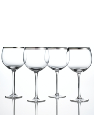 Charter Club Balloon Glasses, Set of 4 Platinum Double Band