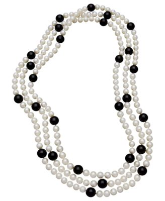 Onyx and Pearl Necklace Onyx Beads & Cultured Freshwater Pearls