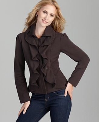 Style&co. Jacket, Knit Ruffle Double Placket - Jackets & Blazers - Women's  - Macy's :  jacket ruffle womans knit