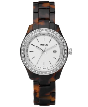 Fossil Watch Womens Mini Stella Tortoise Resin Bracelet with Crystals 30MM ES2680