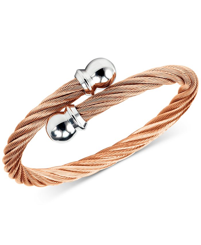 CHARRIOL - Twisted Cable Bypass Bracelet in Rose Gold-Plated Stainless Steel
