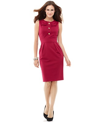 Eliza J Dress, Sleeveless with Button Placket - Work Dresses Dresses - Women's  - Macy's