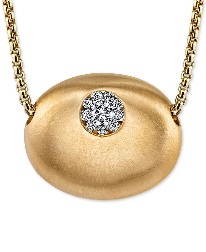 Monica Danko - Diamond Cluster Oval Pendant Necklace (1/7 ct. t.w.) in 14k Gold