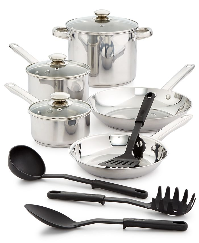 Bella - 12-Pc. Stainless Steel Cookware Set