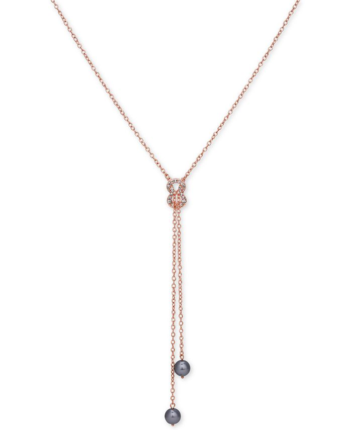 GUESS - Rose Gold-Tone Dark Imitation Pearl and Pavé Lariat Necklace
