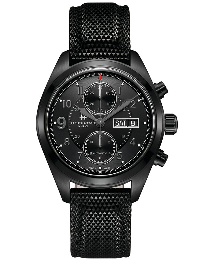 Hamilton - Men's Swiss Automatic Khaki Field Black Rubber Strap Watch 42mm H71626735