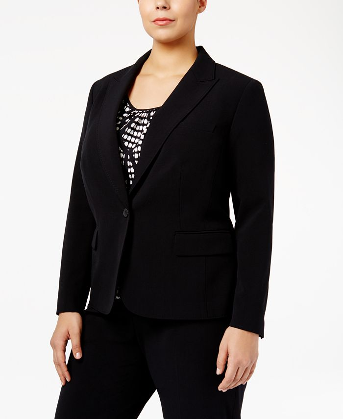 Anne Klein - Plus Size One-Button Blazer