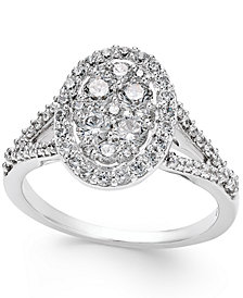 Diamond Cluster Halo Engagement Ring (1 ct. t.w.) in 14k White Gold