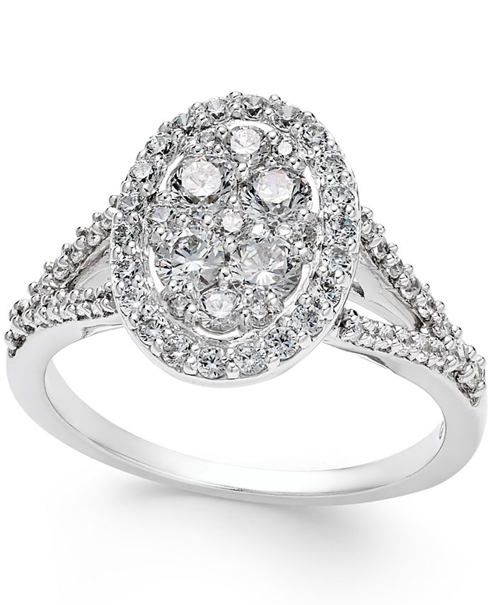 Macy's - Diamond Cluster Halo Engagement Ring (1 ct. t.w.) in 14k White Gold