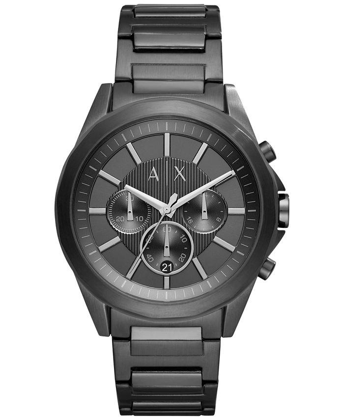 A|X Armani Exchange - Men's Chronograph Black Stainless Steel Bracelet Watch 44mm X2601